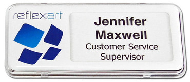 Reusable plastic name badges - Clear border and white background | www.namebadgesinternational.co.uk